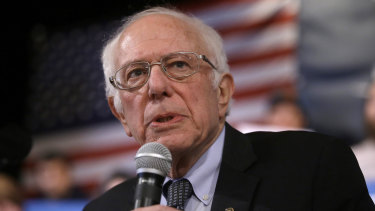 Democratic presidential candidate Senator Bernie Sanders speaks during a campaign rally in New Hampshire.