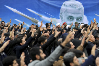 Protesters demonstrate in Tehran over the US air strike that killed General Qassem Soleimani.