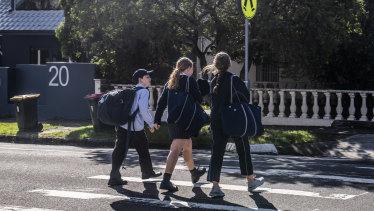 Students leave Moriah War Memorial College at Queens Park.