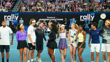Roger Federer, Rafael Nadal, Nick Kyrgios, Novak Djokovic, Dominic Thiem, Serena Williams, Naomi Osaka, Caroline Wozniacki, Petra Kvitova, Stefanos Tsitsipas and Coco Gauff.