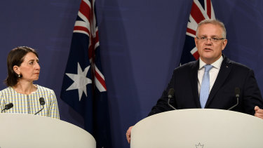 Prime Minister Scott Morrison and NSW Premier Gladys Berejiklian announcing the $2 billion energy deal in Sydney on Friday.