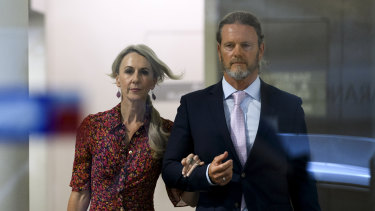 Craig McLachlan leaving his lawyer's chambers in Sydney in November with his partner Vanessa Scammell.