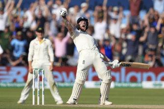 Ben Stokes celebrates England's incredible win.