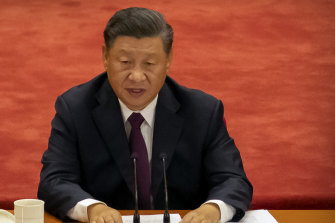Chinese President Xi Jinping speaks at an event in September last year to honor some of those involved in China's fight against COVID-19.
