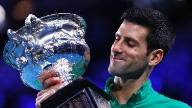 Novak Djokovic with the Norman Brookes Challenge Cup after winning the 2020 Australian Open.