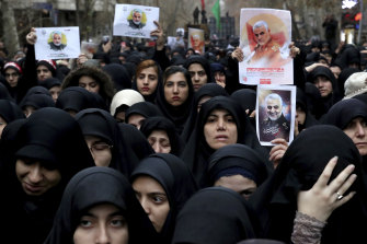 Women protest in Tehran over the US airstrike that killed Qassem Soleimani.