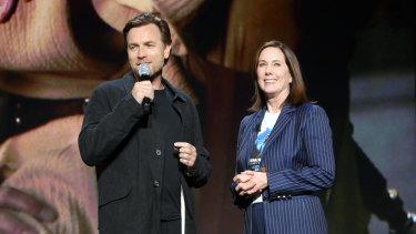 Lucasfilm president Kathleen Kennedy (right) with actor Ewan McGregor, who will star in Star Wars: Obi-Wan Kenobi.