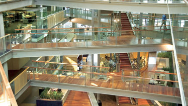 An internal view of NAB's headquarters in the Docklands.