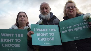 Euthanasia supporters rally on the steps of Parliament House, Perth.