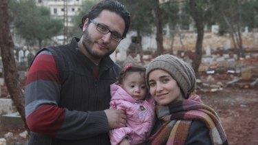 Filmmaker Waad al-Kateab (right), her husband Hamza, and their daughter Sama.