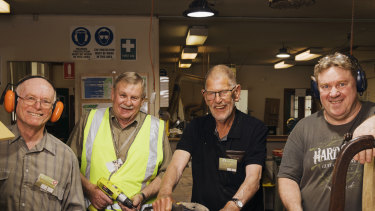 Parramatta District Men's Shed. members LtoR Robert McKenzie, Paul Madsen, Ian Robinson and Don Cunningham.