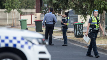 Police investigate at Huntly Ct. Meadow Heights on Tuesday morning.