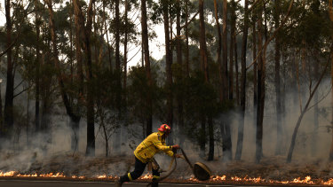 The RFS work to contain a small fire south of Sydney this week.