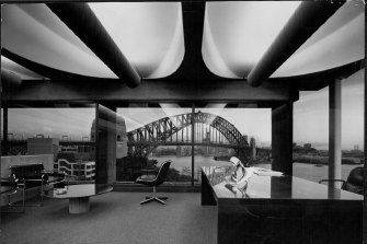 Harry Seidler's open plan office with Harbour Bridge views, photographed in 1973.