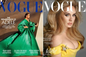 Adele connected  the screen  of US Vogue, photographed by Alasdair McLellan and UK Vogue, photographed by Steven Meisel.