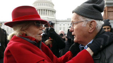 Actress and activist Jane Fonda talks with actor Martin Sheen outside the US Capitol during a protest on climate change on Friday.