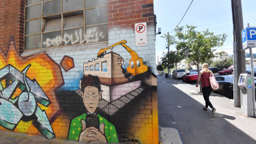 A graffiti piece depicting demolition of the Corkman pub, directly across the road from the site.