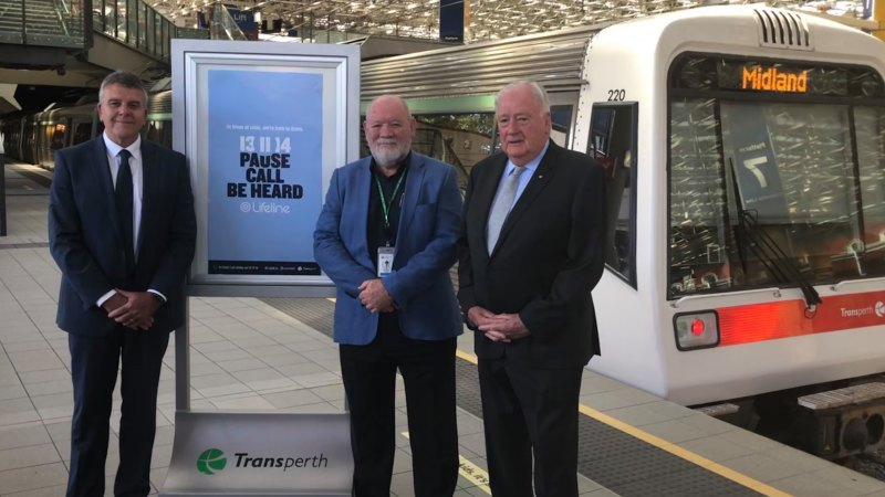 Mental health campaign urges people to 'pause, call, be heard' at WA rail stations