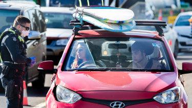 People heading towards Geelong on Thursday faced a checkpoint near Lara.