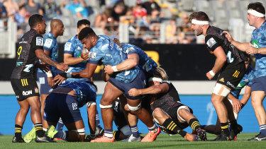 Damaging Blues loose forward Hoskins Sotutu will be a handful for the Waratahs.