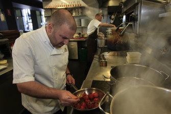 Calombaris preparing tomato baklava at the Press Club in 2008.