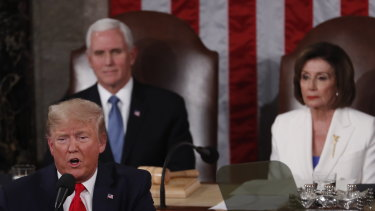 US President Donald Trump giving the State of the Union address to a joint session of Congress at the US Capitol in Washington, DC.