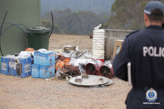 Police at the scene of an alleged drug lab discovered on a remote NSW property at the weekend.