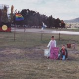 Marlee Silva and her sister Keely at the Tent Embassy in Canberra in the winter of 2002.