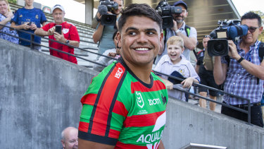 Latrell Mitchell after announcing his signing with South Sydney.