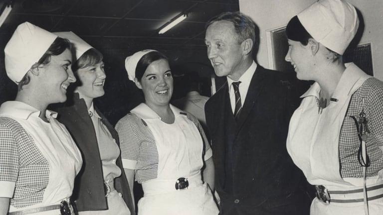 Dr Harold Windsor, with staff at Sydney's St. Vincent's Hospital, 1968