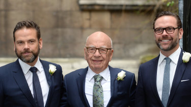 Rupert Murdoch flanked by sons Lachlan, left, and James.