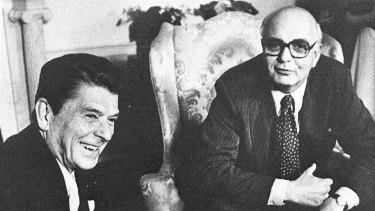 Fed chairman Paul Volcker with US President Ronald Reagan in  1981.