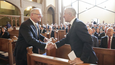 Prime Minister Scott Morrison and Deputy Prime Minister Michael McCormack at a church service to mark the start of the parliamentary year on Tuesday.