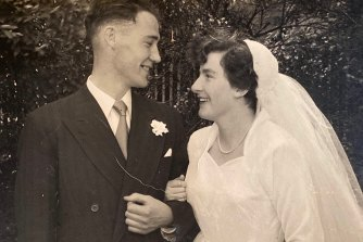 Pat and Rita Bricknell on their wedding day.