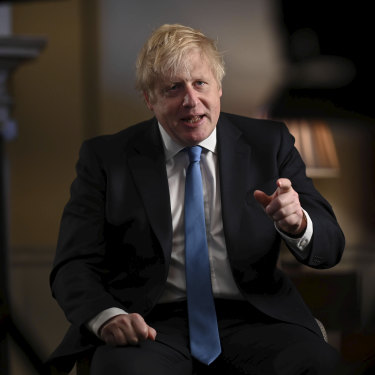 Prime Minister Boris Johnson recording his address to the nation for Brexit night.