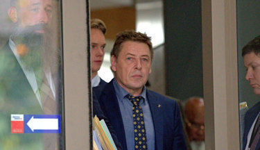 """Former AFL coach Mark """"Bomber"""" Thompson at Melbourne Magistrates Court on Monday."""