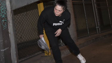 Roberta Williams leaves court after being granted bail on a string of charges.