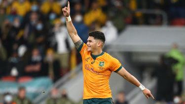 Noah Lolesio after taking a winning penalty in Brisbane.