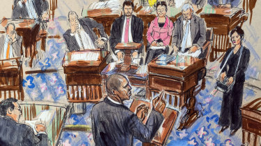 This artist sketch depicts Democrat Hakeem Jeffries addressing the Senate during the impeachment trial of President Donald Trump on Friday.