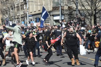 Protesters were sprayed with capsicum spray during the Melbourne anti-lockdown rally in August.