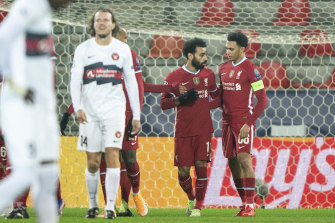 Liverpool's Mohamed Salah celebrates his goal against Midtjylland.