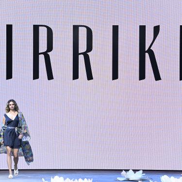 Samantha Harris walks for Kirrikin in the Indigenous Fashion Projects show at Australian Fashion Week.