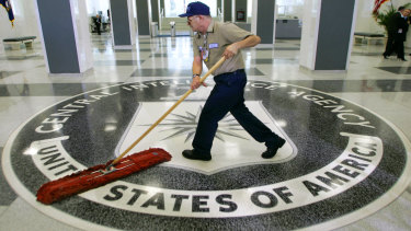 A man cleans the floor at the CIA.