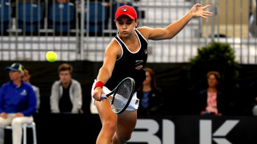 Hitting the sweet spot: Ashleigh Barty was back to her best in her quarter-final against Markta Voundrousova at the Adelaide International.