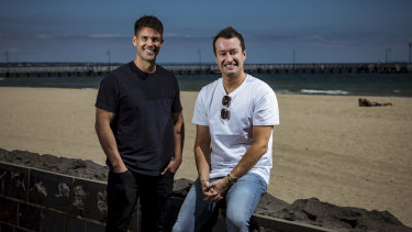 Bondi Sands founders Blair James and Shaun Wilson  at Port Melbourne beach.