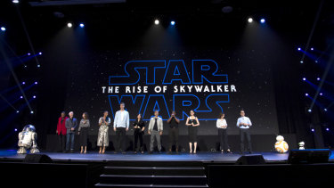 The Star Wars cast, producers and droids R2-D2 and BB-8 at D23.