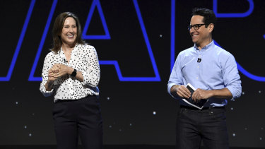 Lucasfilm president Kathleen Kennedy and Star Wars producer J.J. Abrams at D23.