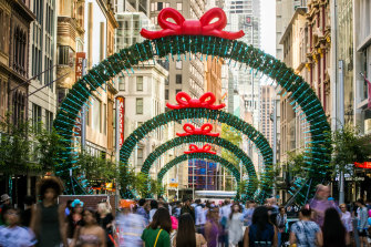 Christmas shoppers on Sydney's George Street.