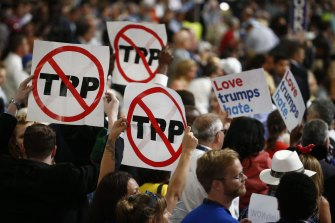 Delegates oppose the Trans-Pacific Partnership during the Democratic National Convention (DNC) in Philadelphia in July 2016.