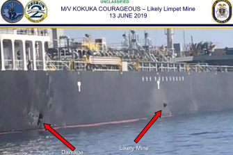 A US military photo from June 13 shows damage to a tanker in the Gulf of Oman.